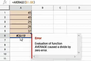 DIV error when using AVERAGE formula