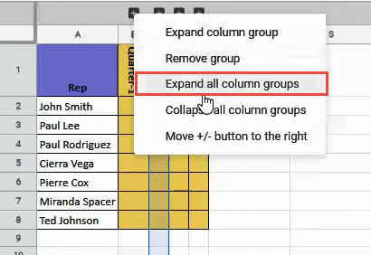Expand all column groups