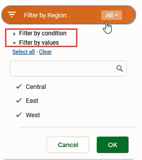 Filter by value or condition in slicer