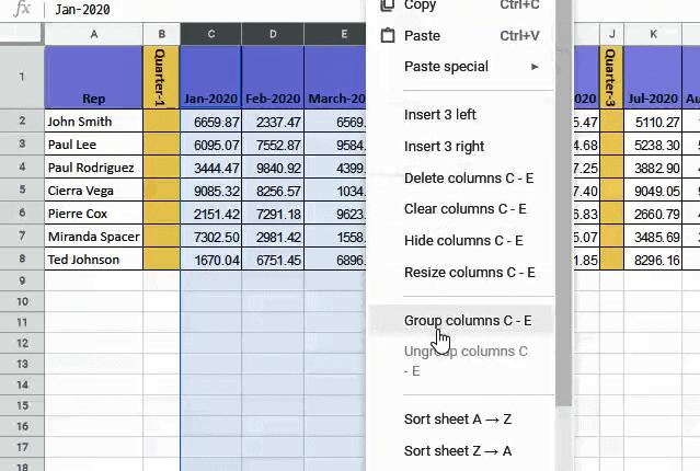 Group column C to E