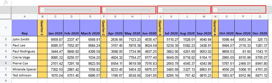 Line that indicates how many columns are grouped