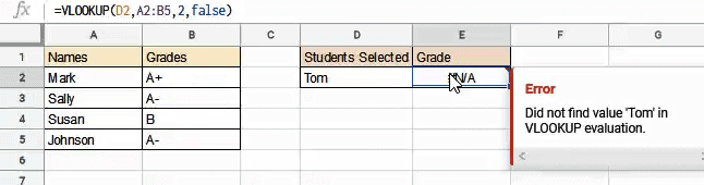 NA Error from VLOOKUP