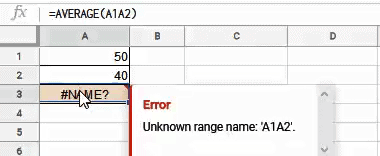 Name error because of mispelled range address