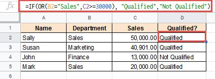 Operators in OR formula