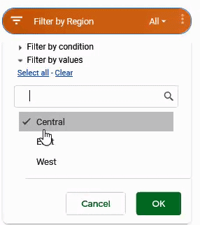 Select Only Central Option in the Slicer filters