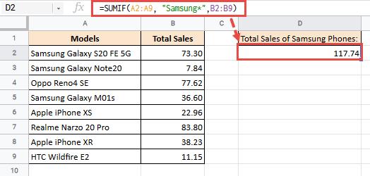 SUMIF formula using wildcard