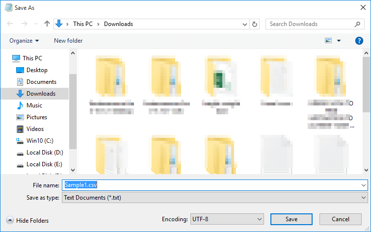 Save the file as CSV