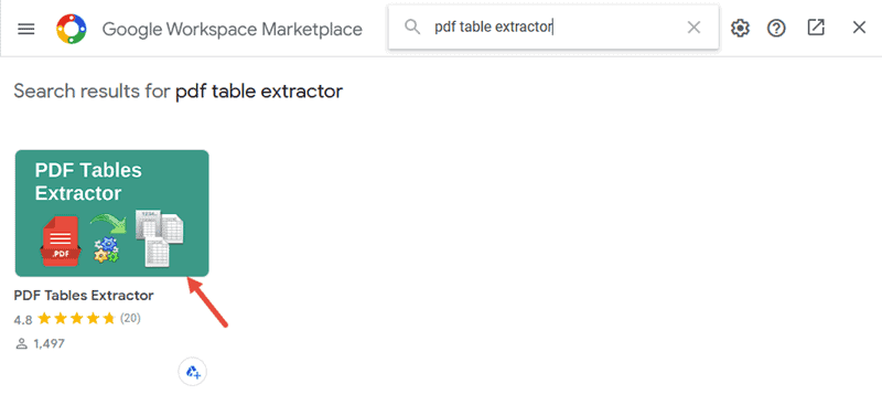 Select the PDF Table Extractor App
