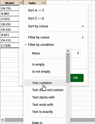 select the option Text contains