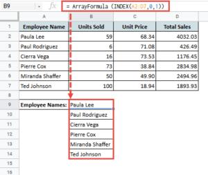fetch entire column using index