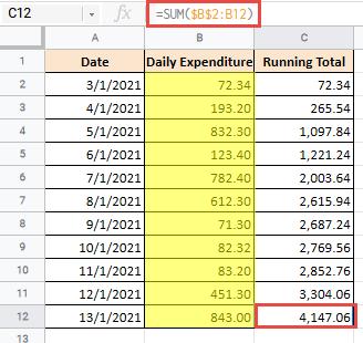 Final Running total