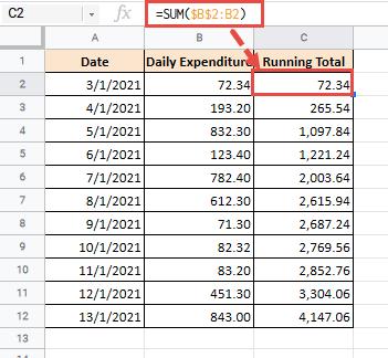 SUM formula for running totals