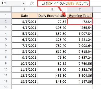 Dynamic SUM formula for running total