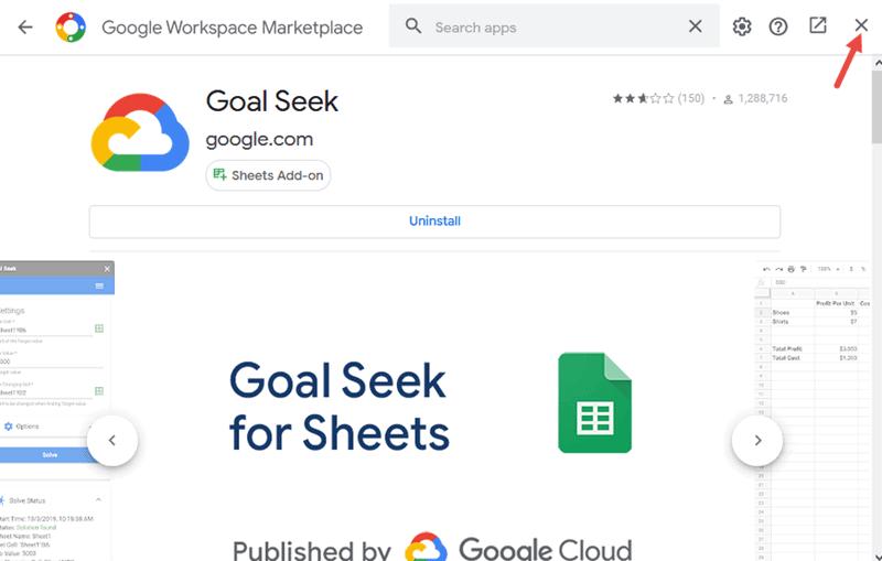 Close the Google Workspace Marketplace window