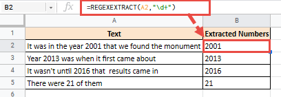 Extract numbers from text string