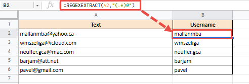 Extract username from emails