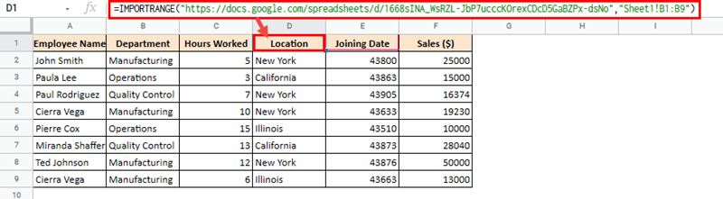 Using IMPORTRANGE to Hide Columns from Certain Users in Google Sheets