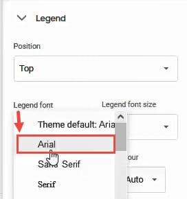 Formatting the Chart Legend in Google Sheets