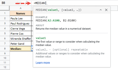 how to find median in google sheets