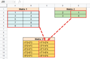 MMULT Function in google sheets