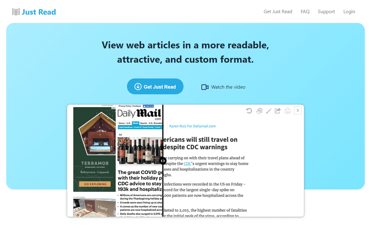 Just Read helps remove any on-screen distractions so you can focus on absorbing information.