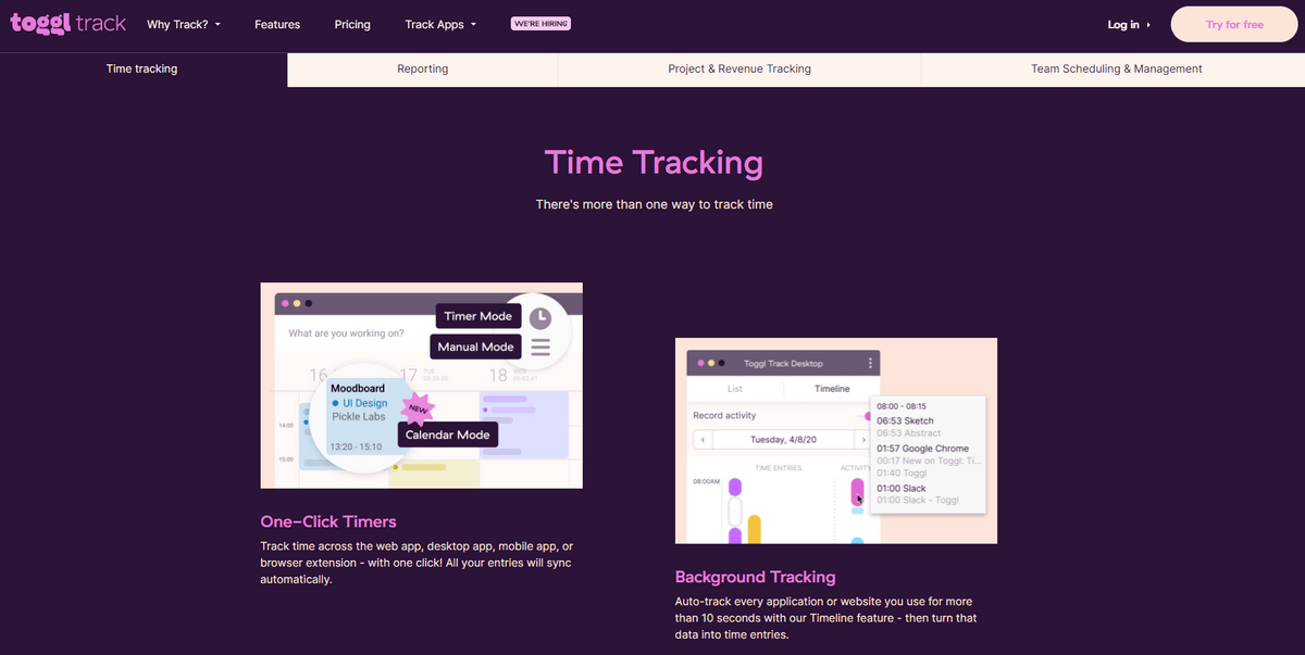 Toggl has numerous features to help you track your time and boost your productivity.