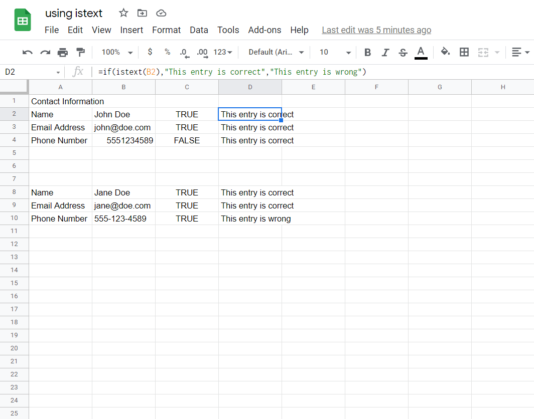 Using ISTEXT with the IF Function