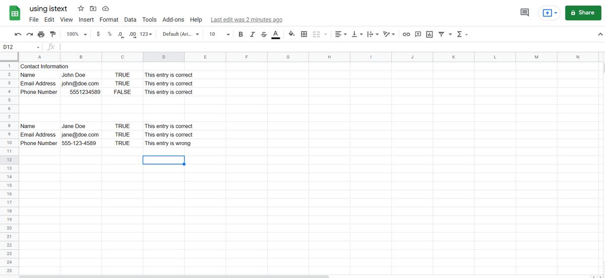 using istext google sheets
