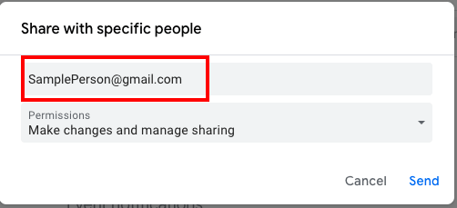 google calendar share with specific people