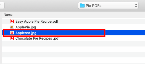 Select file you want to add to PDF