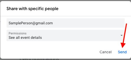 hit send to share your google calendar