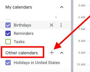 plus symbol next to other calendars