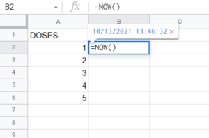 Google sheets now function