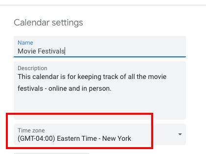 calendar time zone